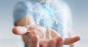 L'homme d'affaires utilisant l'interface numérique 3D de balayage de corps humain de rayon X ren Images stock