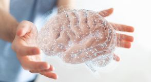 L'homme d'affaires utilisant la projection 3D numérique d'un esprit humain 3D les déchirent illustration libre de droits