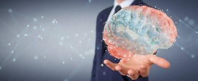 L'homme d'affaires utilisant la projection 3D numérique d'un esprit humain 3D les déchirent illustration stock