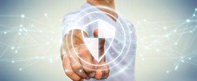L'homme d'affaires utilisant la protection sûre de bouclier avec les connexions 3D ren Image libre de droits