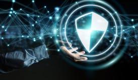 L'homme d'affaires utilisant la protection sûre de bouclier avec les connexions 3D ren Photographie stock