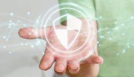 L'homme d'affaires utilisant la protection sûre de bouclier avec les connexions 3D ren Images libres de droits