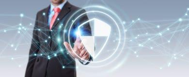 L'homme d'affaires utilisant la protection sûre de bouclier avec les connexions 3D ren Photographie stock libre de droits