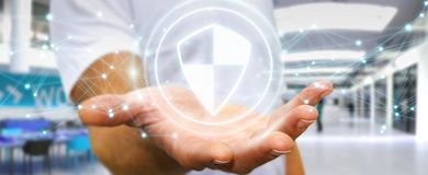L'homme d'affaires utilisant la protection sûre de bouclier avec les connexions 3D ren Photos libres de droits