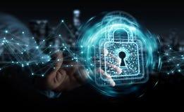 L'homme d'affaires utilisant le cadenas numérique avec la protection des données 3D rendent Images stock