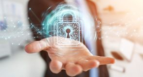 L'homme d'affaires utilisant le cadenas numérique avec la protection des données 3D rendent Photos libres de droits