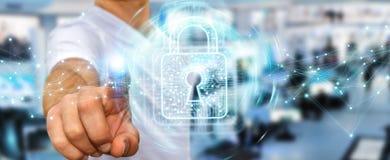 L'homme d'affaires utilisant le cadenas numérique avec la protection des données 3D rendent Photo libre de droits