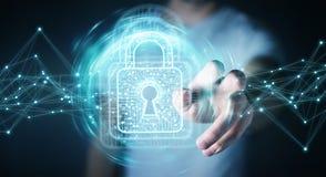 L'homme d'affaires utilisant le cadenas numérique avec la protection des données 3D rendent Image libre de droits