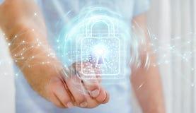 L'homme d'affaires utilisant le cadenas numérique avec la protection des données 3D rendent Photographie stock