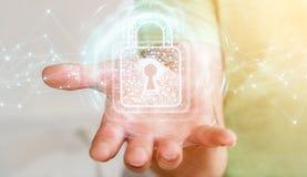 L'homme d'affaires utilisant le cadenas numérique avec la protection des données 3D rendent Photos stock