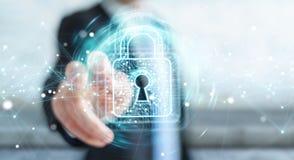 L'homme d'affaires utilisant le cadenas numérique avec la protection des données 3D rendent Image stock