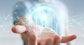 L'homme d'affaires utilisant le cadenas numérique avec la protection des données 3D rendent Photographie stock libre de droits
