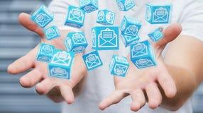 L'homme d'affaires utilisant le cube de flottement envoie le rendu 3D Photo stock