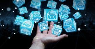 L'homme d'affaires utilisant le cube de flottement envoie le rendu 3D Image stock