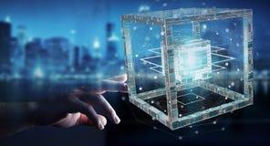 L'homme d'affaires utilisant le cube futuriste a donné au rendu une consistance rugueuse de l'objet 3D Photos stock