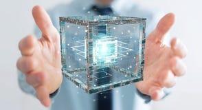 L'homme d'affaires utilisant le cube futuriste a donné au rendu une consistance rugueuse de l'objet 3D Photographie stock libre de droits