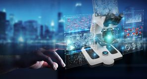 L'homme d'affaires utilisant le microscope moderne avec l'analyse numérique 3D ren Photographie stock libre de droits