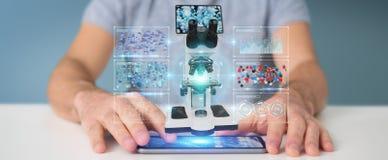 L'homme d'affaires utilisant le microscope moderne avec l'analyse numérique 3D ren Photographie stock