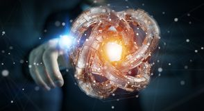 L'homme d'affaires utilisant le tore futuriste a donné au rendu une consistance rugueuse de l'objet 3D Photographie stock