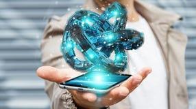 L'homme d'affaires utilisant le tore futuriste a donné au rendu une consistance rugueuse de l'objet 3D Images libres de droits