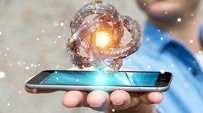 L'homme d'affaires utilisant le tore futuriste a donné au rendu une consistance rugueuse de l'objet 3D Image libre de droits