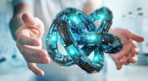 L'homme d'affaires utilisant le tore futuriste a donné au rendu une consistance rugueuse de l'objet 3D Image stock
