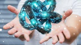 L'homme d'affaires utilisant le tore futuriste a donné au rendu une consistance rugueuse de l'objet 3D Images stock