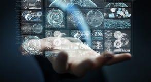 L'homme d'affaires utilisant les écrans numériques avec les données 3D d'hologrammes rendent Photos stock