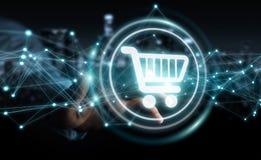 L'homme d'affaires utilisant les icônes numériques d'achats avec les connexions 3D ren Photo stock