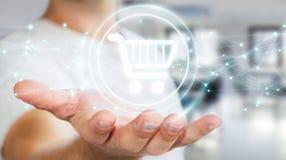 L'homme d'affaires utilisant les icônes numériques d'achats avec les connexions 3D ren Photo libre de droits