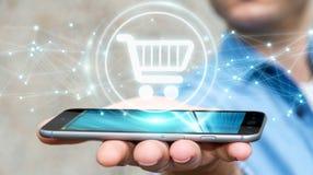 L'homme d'affaires utilisant les icônes numériques d'achats avec les connexions 3D ren Images stock