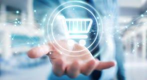 L'homme d'affaires utilisant les icônes numériques d'achats avec les connexions 3D ren Photos libres de droits