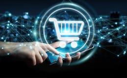 L'homme d'affaires utilisant les icônes numériques d'achats avec les connexions 3D ren Image libre de droits