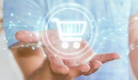 L'homme d'affaires utilisant les icônes numériques d'achats avec les connexions 3D ren Images libres de droits