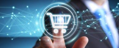 L'homme d'affaires utilisant les icônes numériques d'achats avec les connexions 3D ren Photographie stock