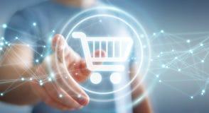 L'homme d'affaires utilisant les icônes numériques d'achats avec les connexions 3D ren Photos stock
