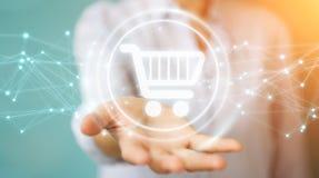 L'homme d'affaires utilisant les icônes numériques d'achats avec les connexions 3D ren Photographie stock libre de droits