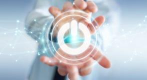 L'homme d'affaires utilisant 3D rendent le bouton de puissance avec des connexions Image stock