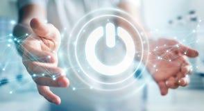 L'homme d'affaires utilisant 3D rendent le bouton de puissance avec des connexions Photo libre de droits