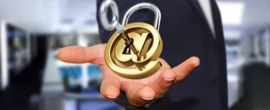 L'homme d'affaires utilisant 3D a rendu le cadenas numérique pour fixer son inte Image stock