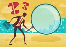 L'homme d'affaires utilise la loupe pour trouver des indices illustration libre de droits