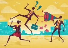 L'homme d'affaires utilise un mégaphone pour inspirer des employés illustration stock