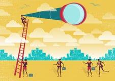L'homme d'affaires utilise un télescope pour gagner un avantage illustration de vecteur