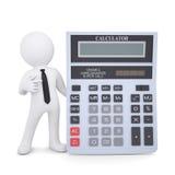 l'homme 3d blanc dirige un doigt à une calculatrice Images libres de droits