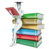 l'homme 3d blanc lit un livre, se penchant de retour contre une pile des livres Images stock