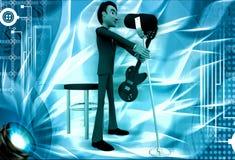 l'homme 3d chantent la chanson dans la MIC et jouent l'illustration de guitare Photographie stock