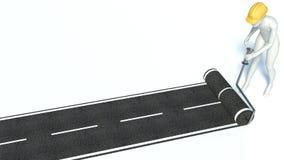 l'homme 3d construit une route d'asphalte illustration stock