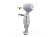 l'homme 3d donnent le concept de fleur Images libres de droits