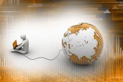 l'homme 3d s'asseyent près du globe avec l'ordinateur portable Photo libre de droits