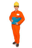 L'homme dans des combinaisons oranges sur le blanc Images libres de droits
